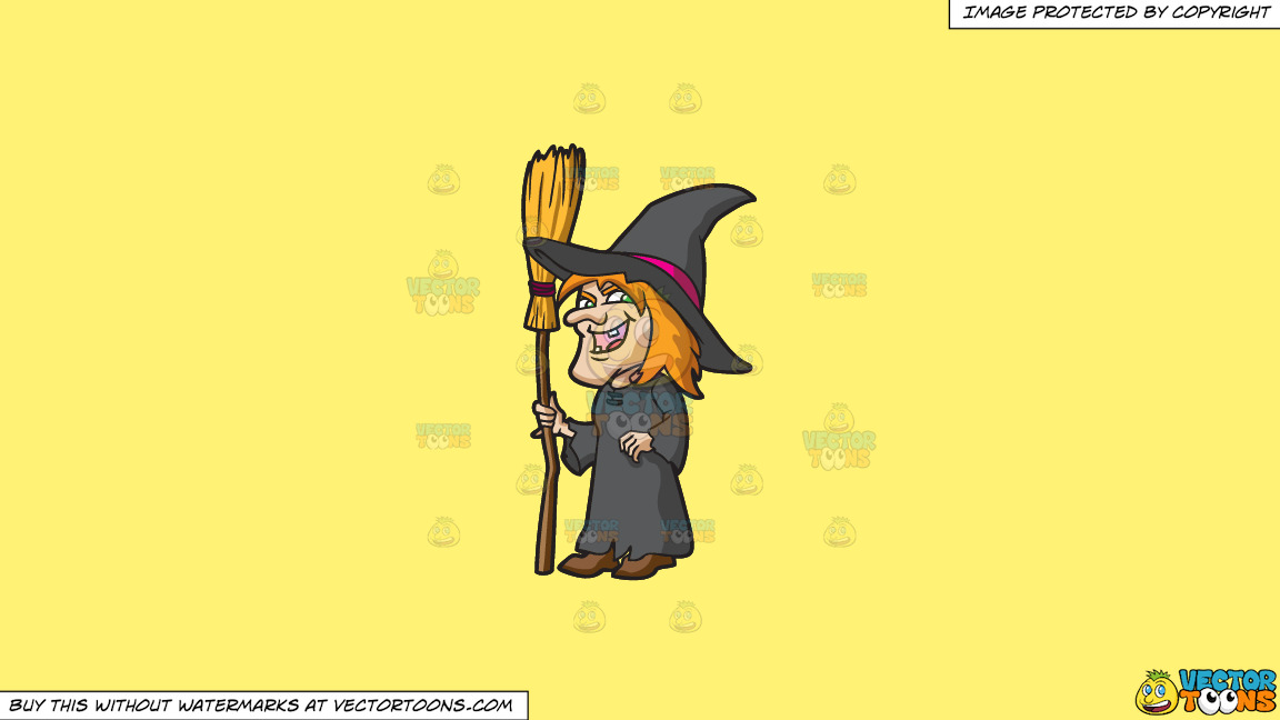 A Laughing Witch On A Solid Sunny Yellow Fff275 Background thumbnail