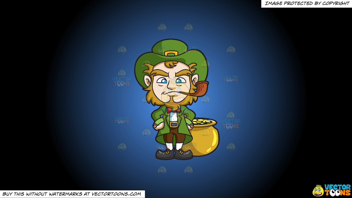 A Leprechaun Smoking A Pipe On A Blue And Black Gradient Background thumbnail