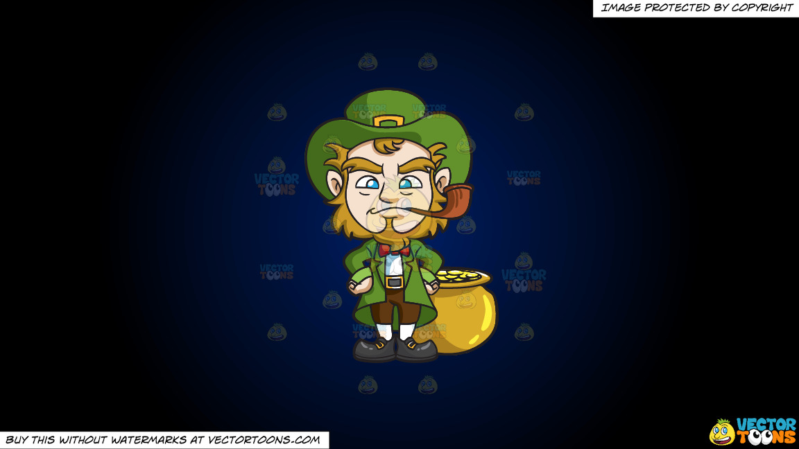 A Leprechaun Smoking A Pipe On A Dark Blue And Black Gradient Background thumbnail