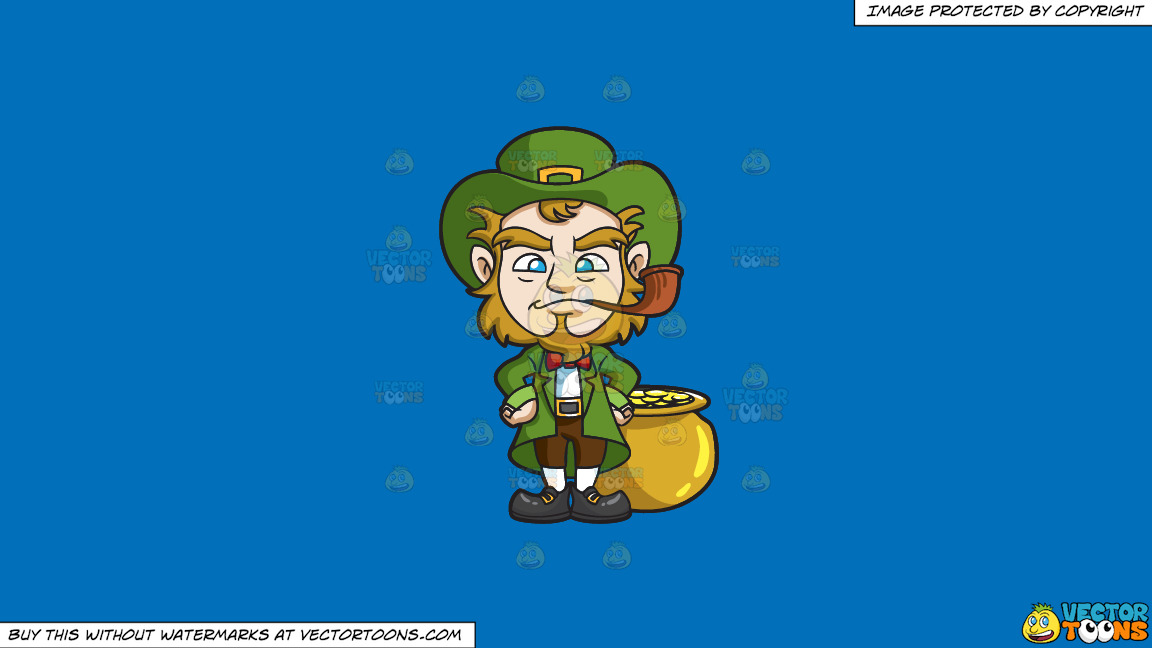 A Leprechaun Smoking A Pipe On A Solid Spanish Blue 016fb9 Background thumbnail