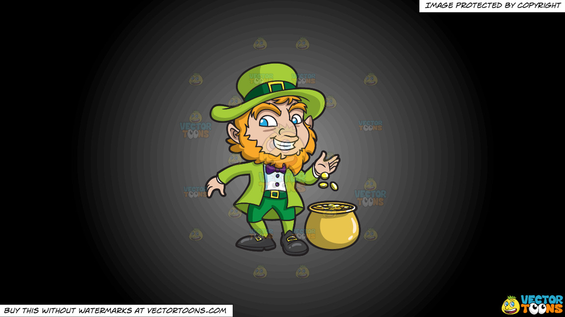 A Leprechaun With His Pot Of Gold On A Grey And Black Gradient Background thumbnail