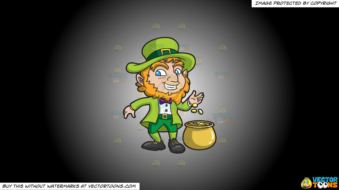 A Leprechaun With His Pot Of Gold On A White And Black Gradient Background thumbnail