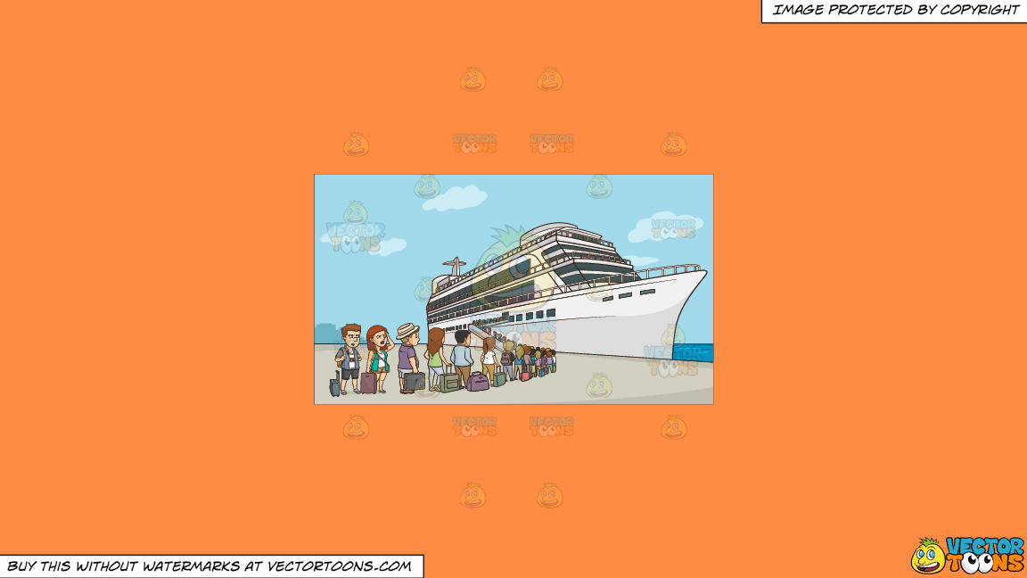 A Line Of Cruise Tourists Waiting To Board The Ship On A Solid Mango Orange Ff8c42 Background thumbnail