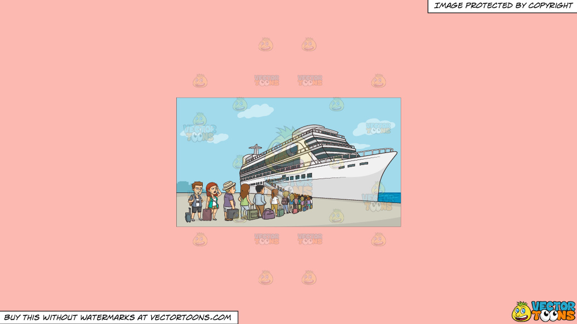 A Line Of Cruise Tourists Waiting To Board The Ship On A Solid Melon Fcb9b2 Background thumbnail
