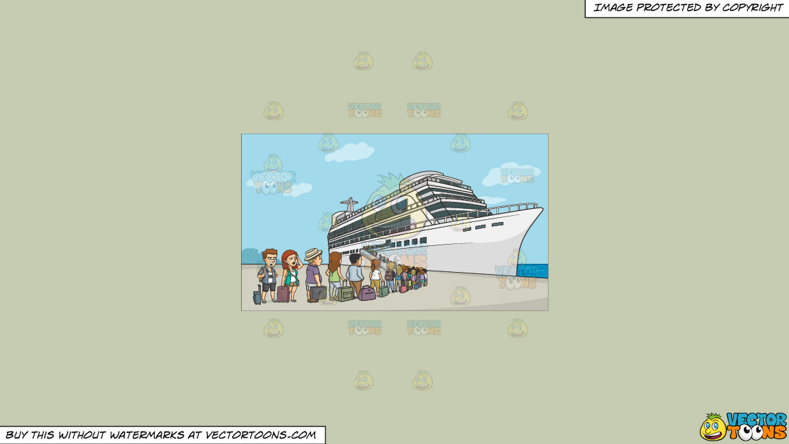 A Line Of Cruise Tourists Waiting To Board The Ship On A Solid Pale Silver C6ccb2 Background thumbnail