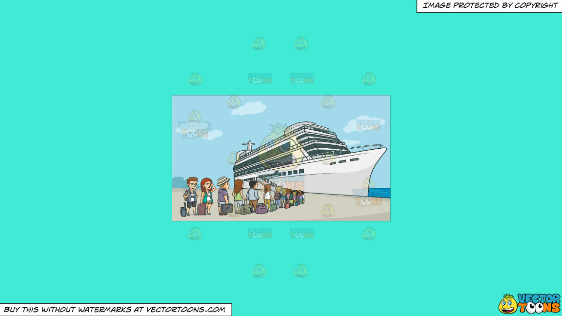 A Line Of Cruise Tourists Waiting To Board The Ship On A Solid Turquiose 41ead4 Background thumbnail