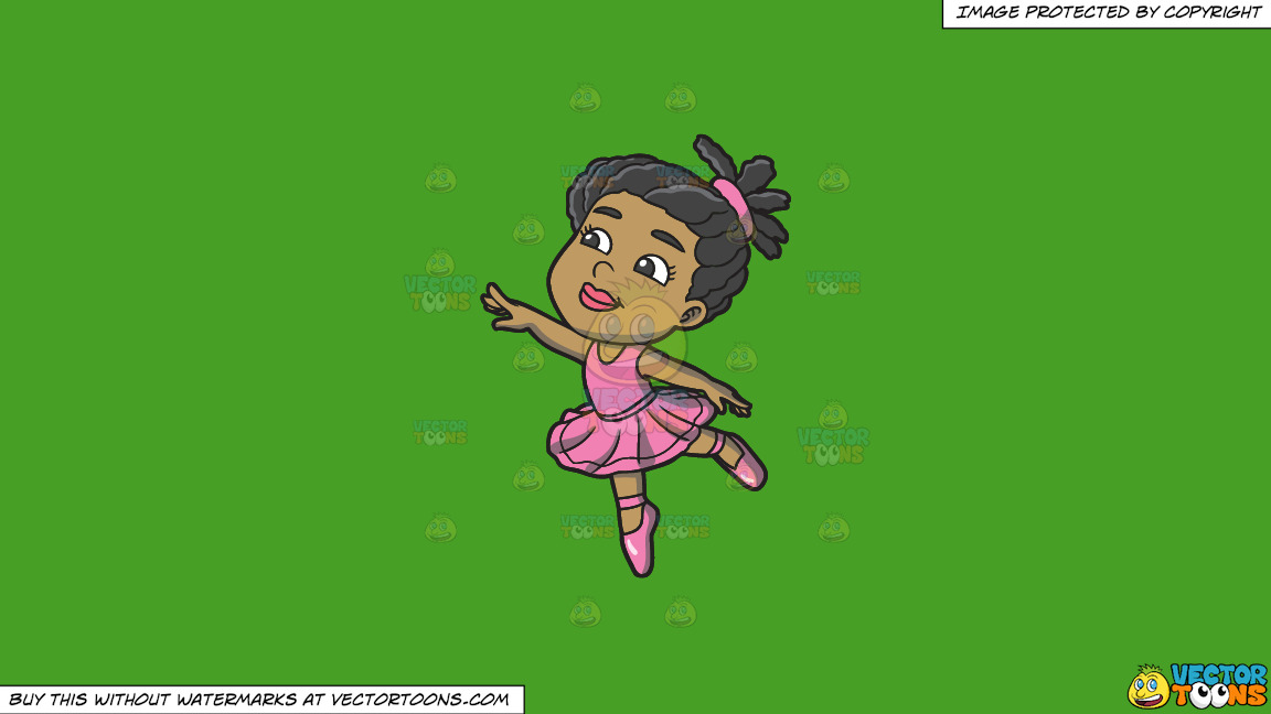 A Little Black Ballet Dancer On A Solid Kelly Green 47a025 Background thumbnail