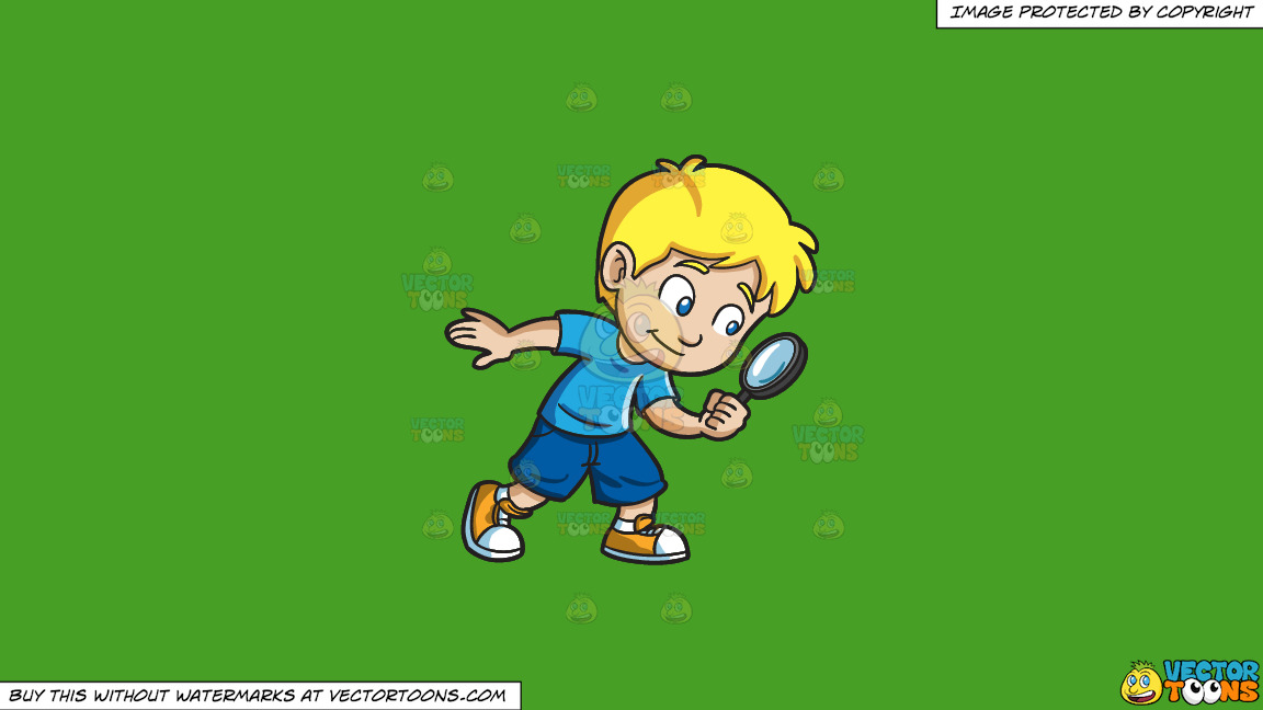 A Little Boy Playing Detective On A Solid Kelly Green 47a025 Background thumbnail