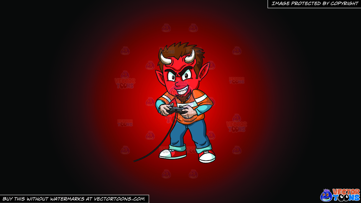 A Little Devil Playing A Video Game On A Red And Black Gradient Background thumbnail