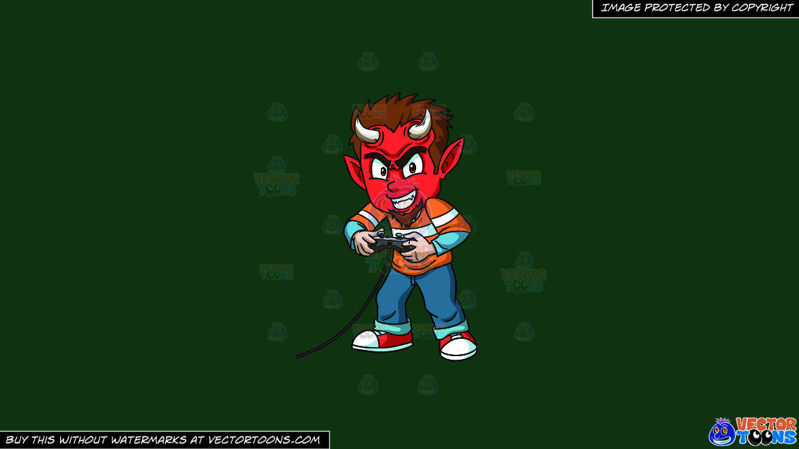 A Little Devil Playing A Video Game On A Solid Dark Green 093824 Background thumbnail
