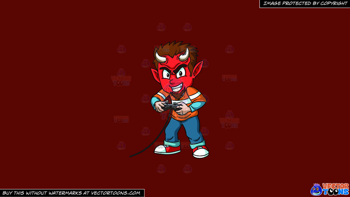 A Little Devil Playing A Video Game On A Solid Maroon 69140e Background thumbnail