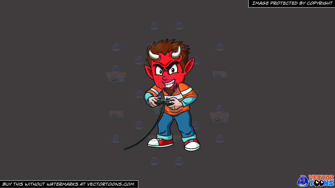 A Little Devil Playing A Video Game On A Solid Quartz 504746 Background thumbnail