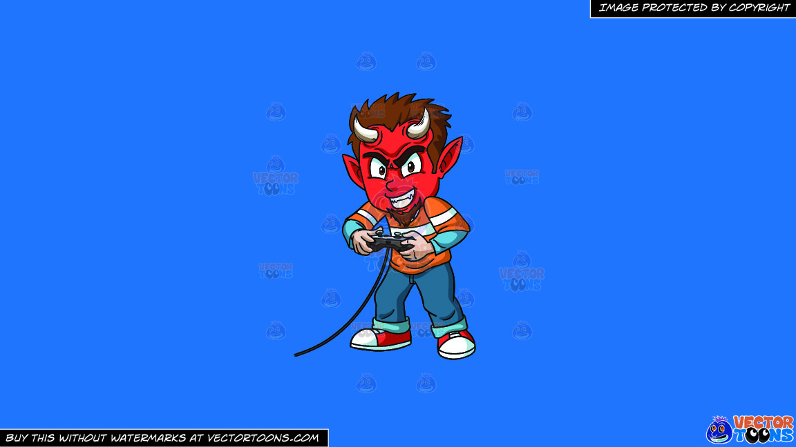 A Little Devil Playing A Video Game On A Solid Spanish Blue 016fb9 Background thumbnail