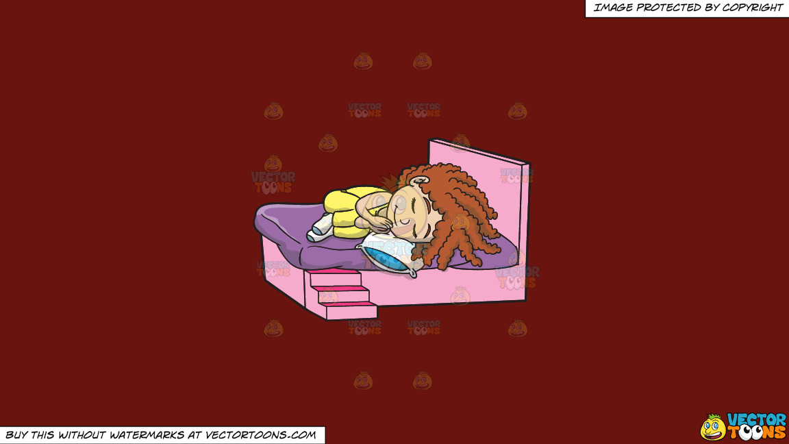 A Little Girl Sleeping Soundly On A Solid Maroon 69140e Background thumbnail