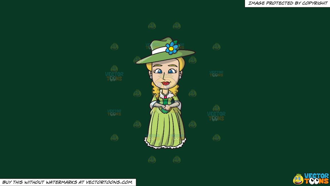 A Lovely 18th Century Colonial Lady On A Solid Dark Green 093824 Background thumbnail