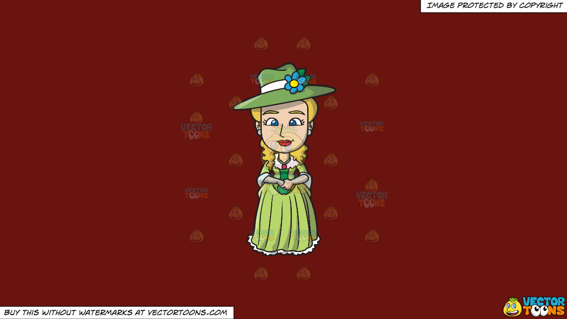 A Lovely 18th Century Colonial Lady On A Solid Maroon 69140e Background thumbnail