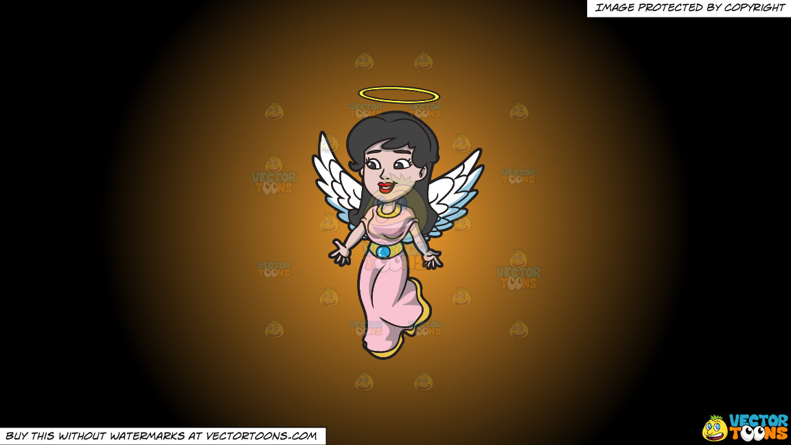 A Lovely Angel On A Orange And Black Gradient Background thumbnail
