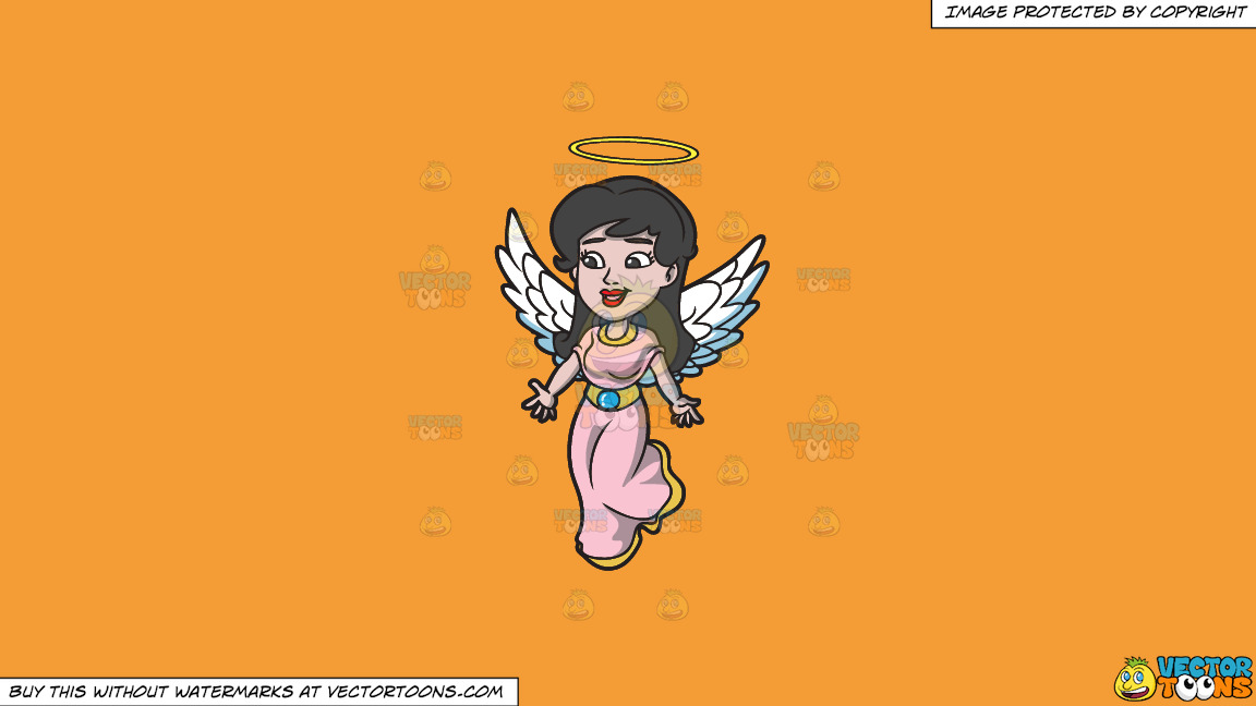 A Lovely Angel On A Solid Deep Saffron Gold F49d37 Background thumbnail
