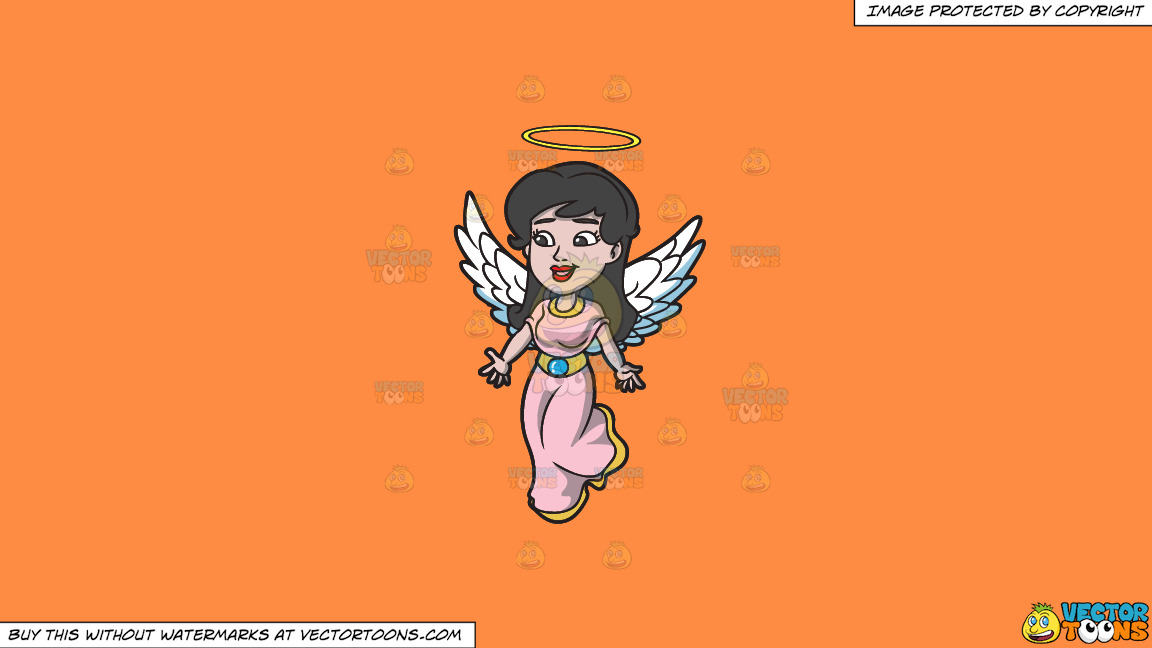 A Lovely Angel On A Solid Mango Orange Ff8c42 Background thumbnail
