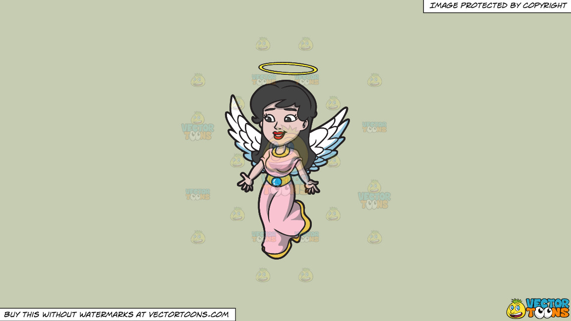 A Lovely Angel On A Solid Pale Silver C6ccb2 Background thumbnail