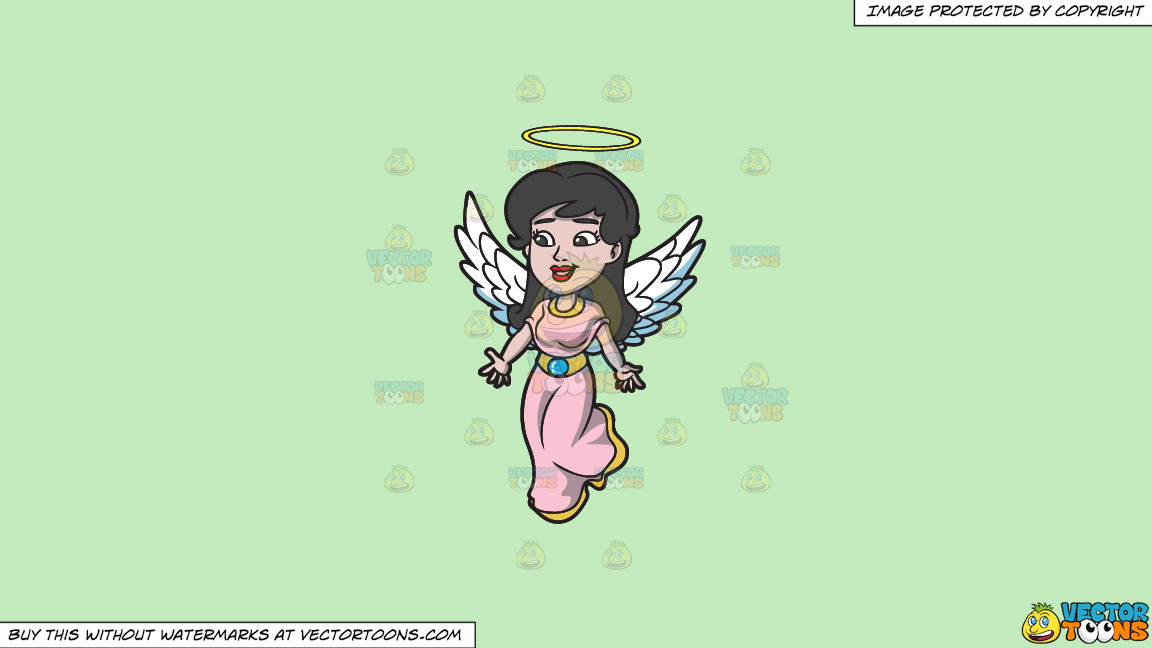 A Lovely Angel On A Solid Tea Green C2eabd Background thumbnail