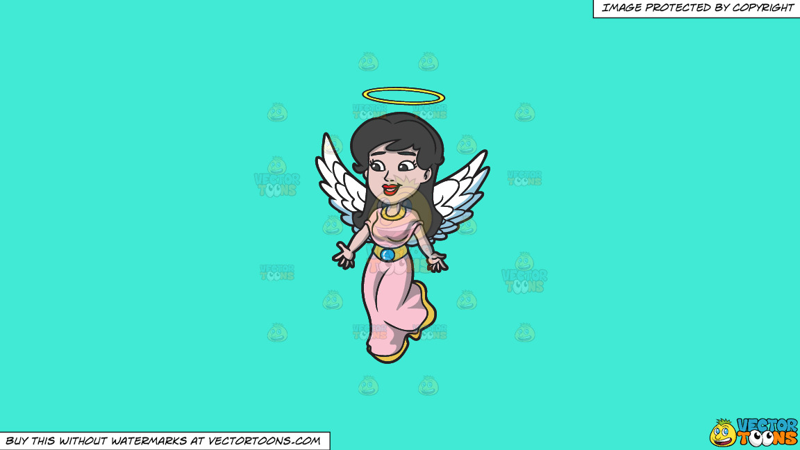 A Lovely Angel On A Solid Turquiose 41ead4 Background thumbnail