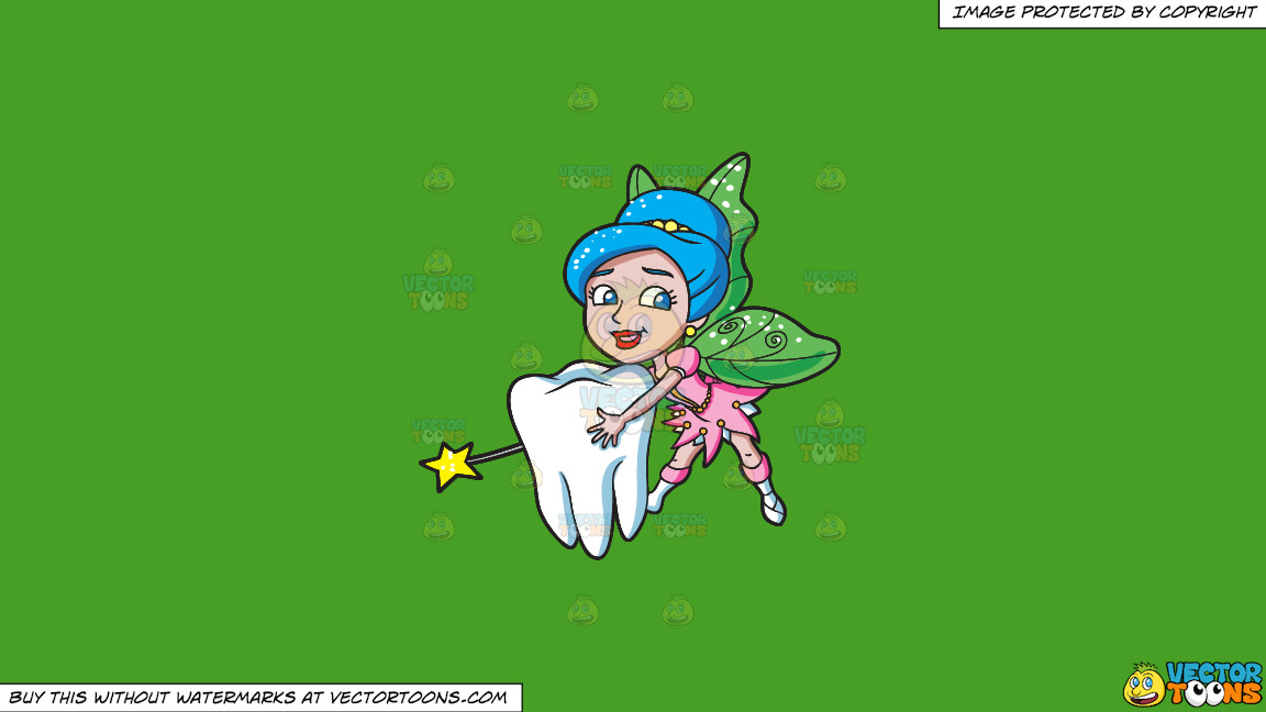 A Lovely Fairy Transporting A Tooth On A Solid Kelly Green 47a025 Background thumbnail