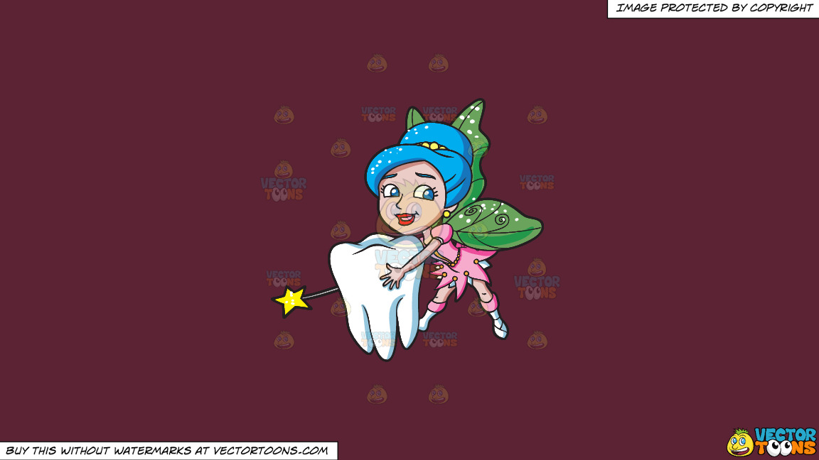 A Lovely Fairy Transporting A Tooth On A Solid Red Wine 5b2333 Background thumbnail