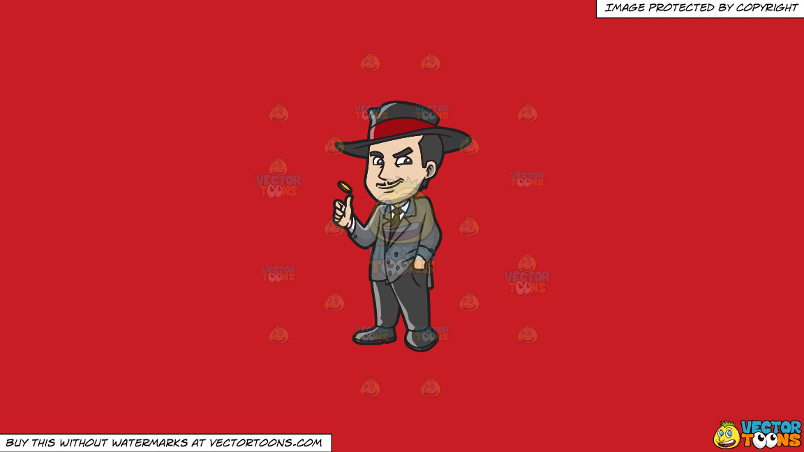 A Mafia Gambler On A Solid Fire Engine Red C81d25 Background thumbnail