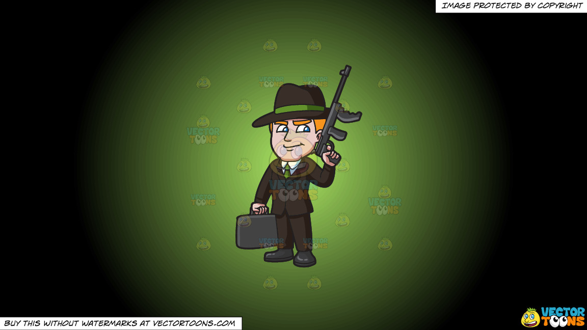 A Mafia Leader With A Gun And Briefcase Of Money On A Green And Black Gradient Background thumbnail