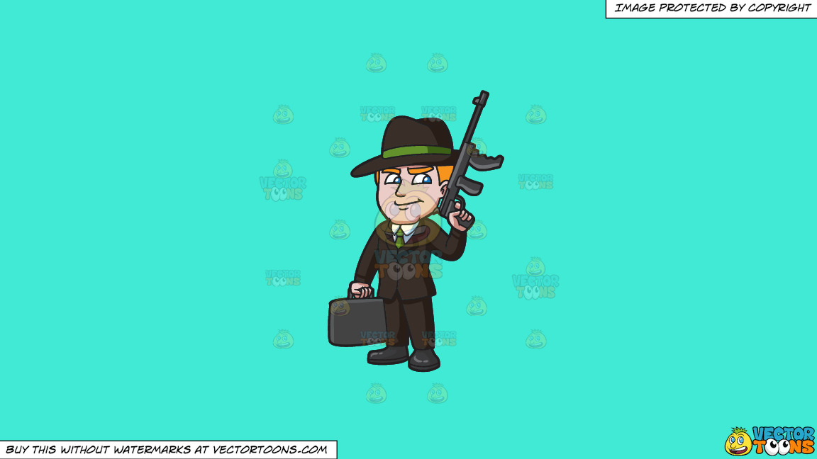 A Mafia Leader With A Gun And Briefcase Of Money On A Solid Turquiose 41ead4 Background thumbnail