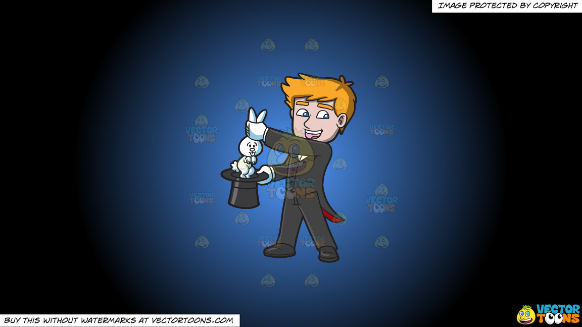 A Magician Carrying A Rabbit On A Blue And Black Gradient Background thumbnail
