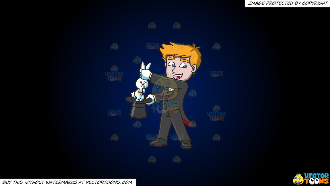 A Magician Carrying A Rabbit On A Dark Blue And Black Gradient Background thumbnail