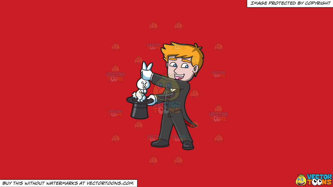 A Magician Carrying A Rabbit On A Solid Fire Engine Red C81d25 Background thumbnail