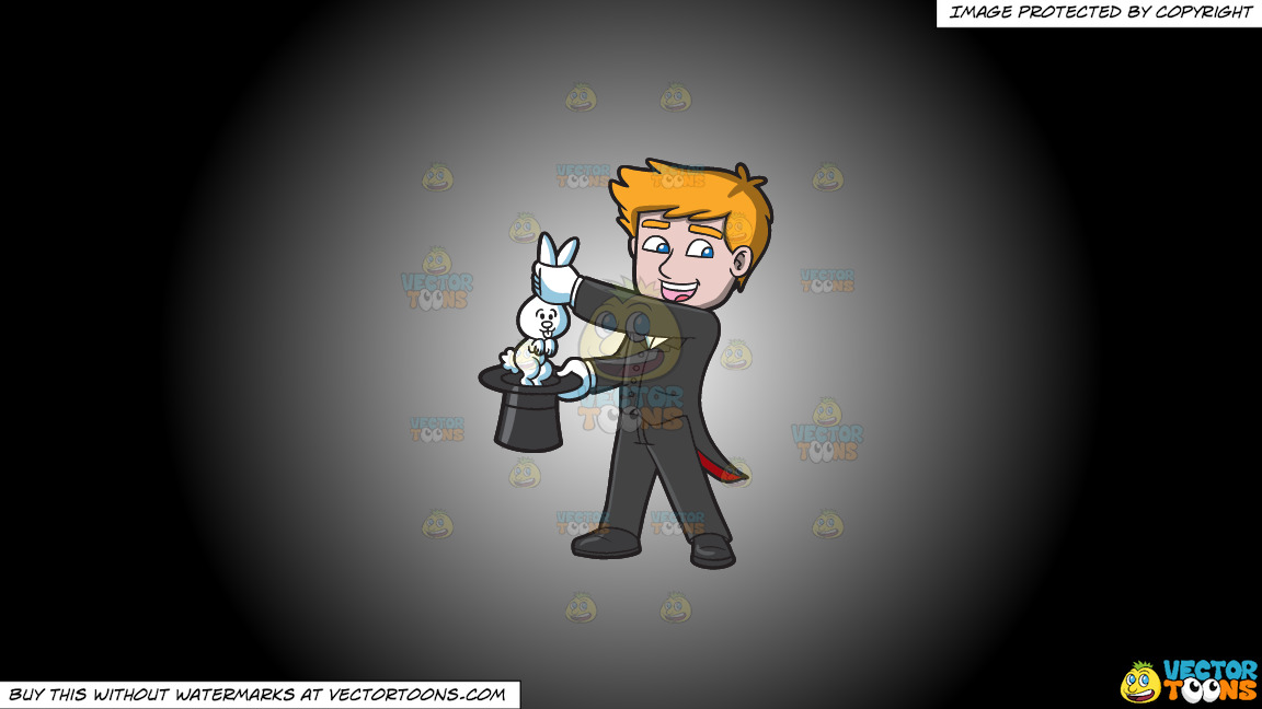 A Magician Carrying A Rabbit On A White And Black Gradient Background thumbnail