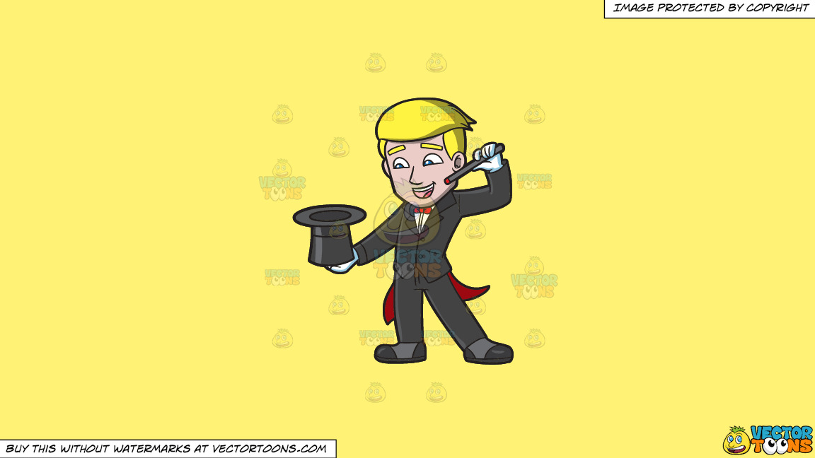 A Magician Doing A Hat Trick On A Solid Sunny Yellow Fff275 Background thumbnail