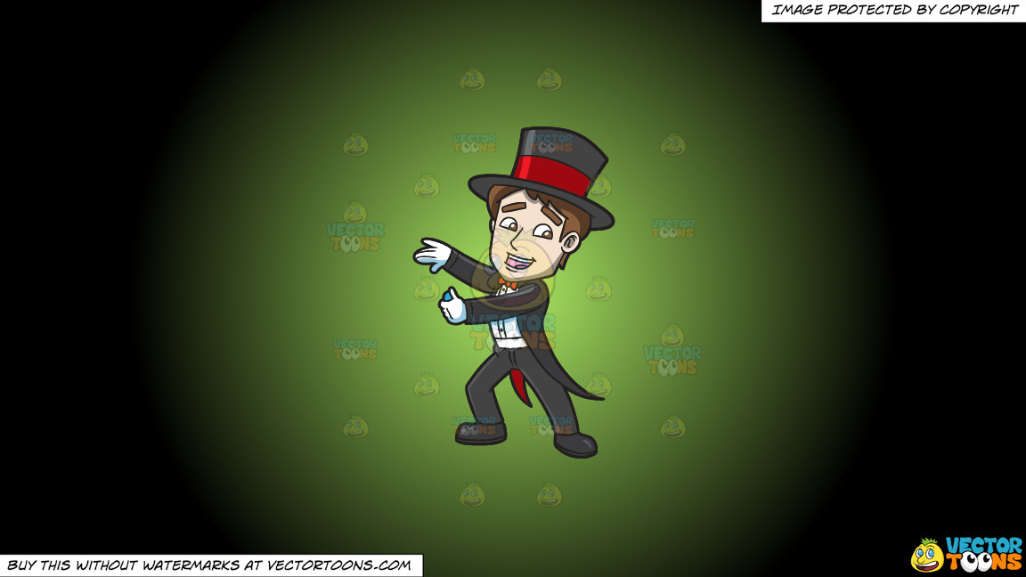 A Magician Pulling A Trick Out His Sleeves On A Green And Black Gradient Background thumbnail