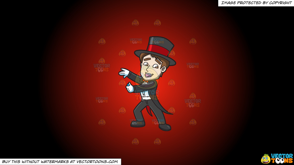 A Magician Pulling A Trick Out His Sleeves On A Red And Black Gradient Background thumbnail