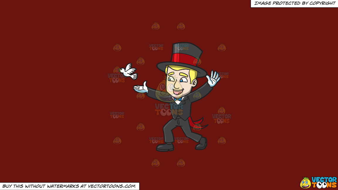 A Magician Releasing A Dove On A Solid Maroon 69140e Background thumbnail
