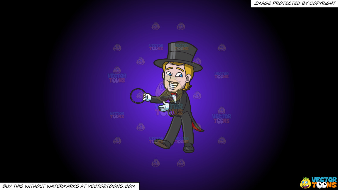 A Magician With Rings On A Purple And Black Gradient Background thumbnail