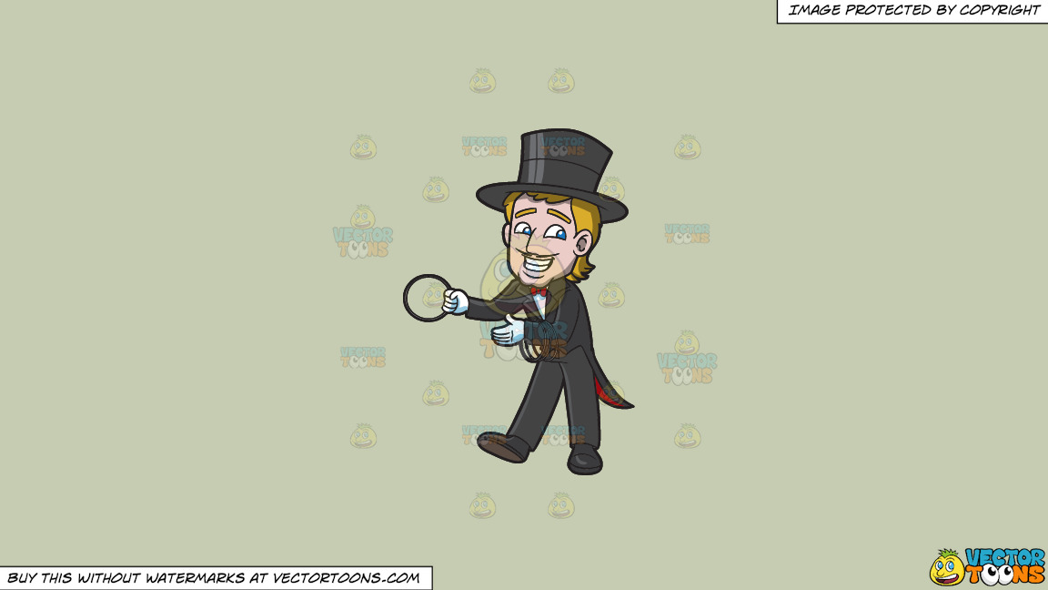 A Magician With Rings On A Solid Pale Silver C6ccb2 Background thumbnail