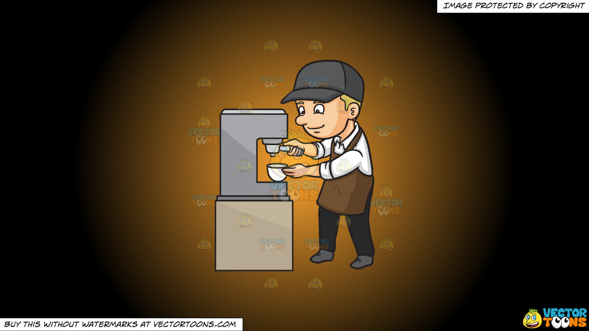 A Male Barista Making Espresso On A Orange And Black Gradient Background thumbnail