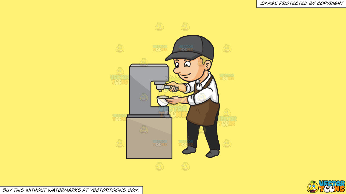 A Male Barista Making Espresso On A Solid Sunny Yellow Fff275 Background thumbnail