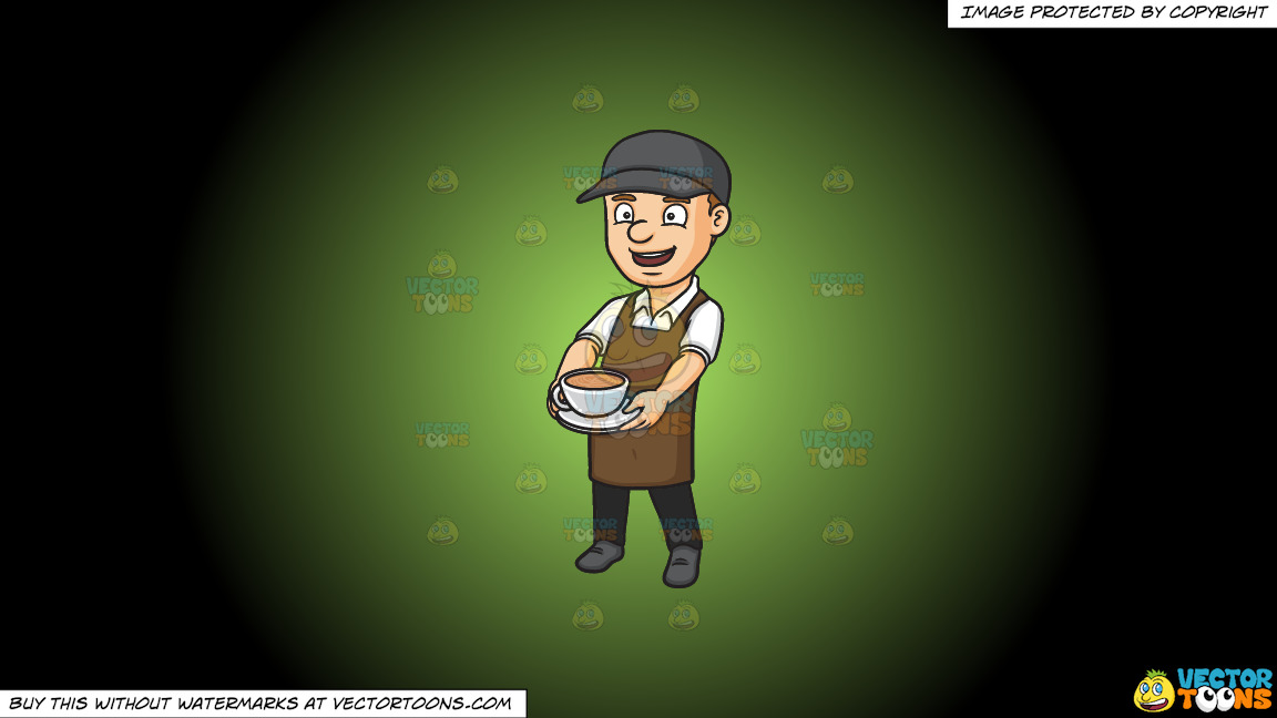 A Male Barista Serving A Mug Of Hot Chocolate On A Green And Black Gradient Background thumbnail