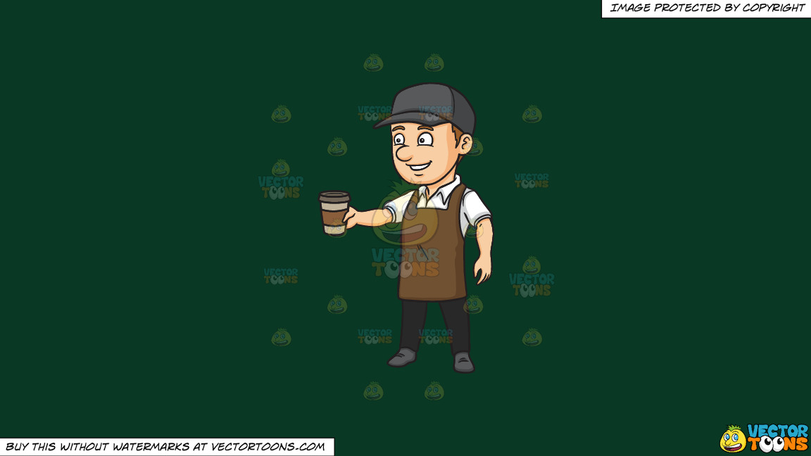 A Male Barista Serving Hot Coffee To Go On A Solid Dark Green 093824 Background thumbnail