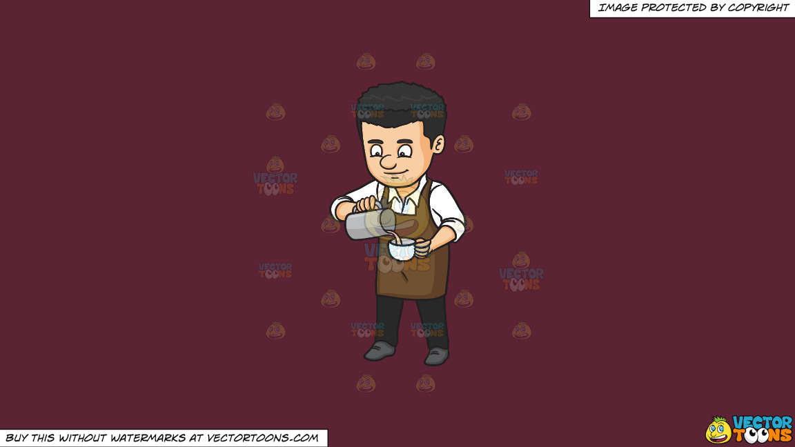 A Male Baritsa Pouring Hot Milk On A Cup On A Solid Red Wine 5b2333 Background thumbnail