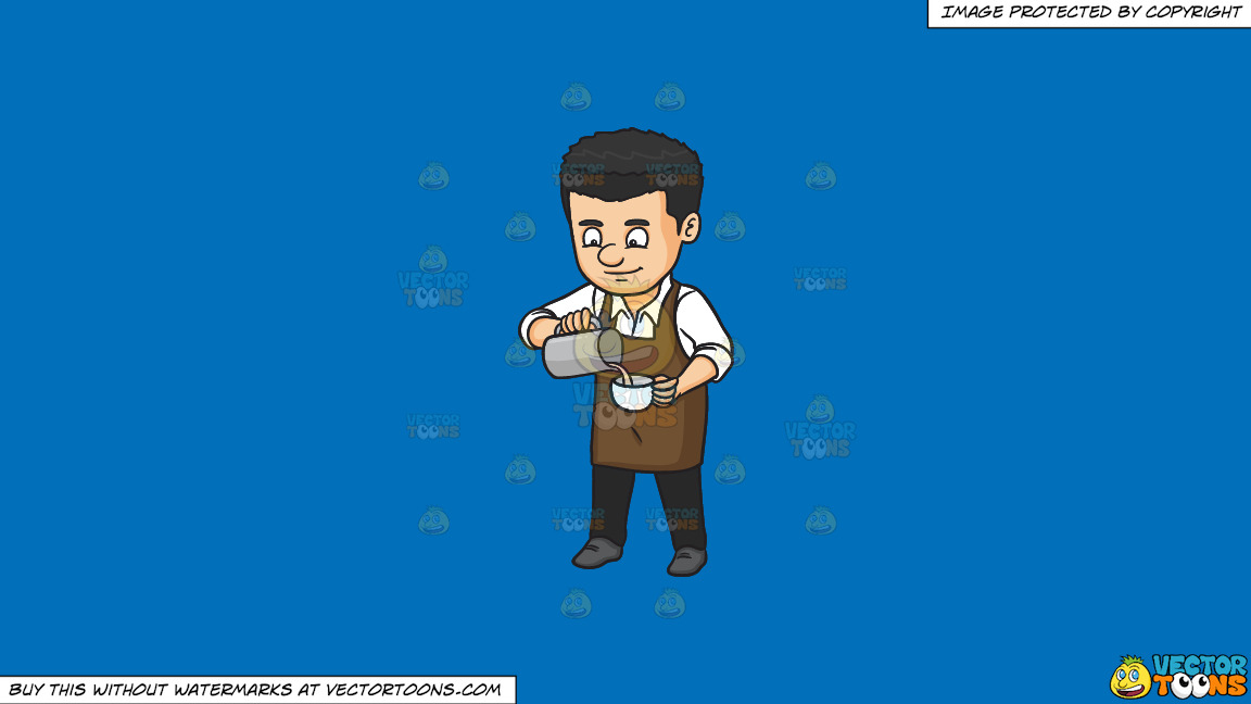 A Male Baritsa Pouring Hot Milk On A Cup On A Solid Spanish Blue 016fb9 Background thumbnail