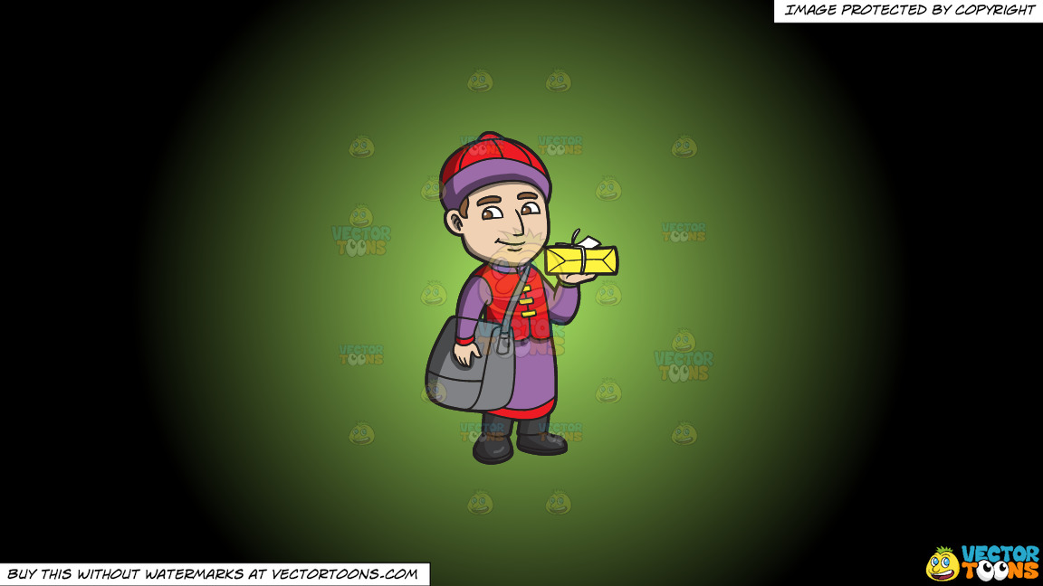 A Male Chinese Restaurant Employee Carrying A Box Of Food On A Green And Black Gradient Background thumbnail