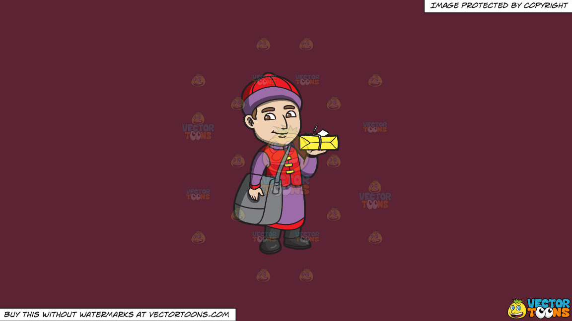A Male Chinese Restaurant Employee Carrying A Box Of Food On A Solid Red Wine 5b2333 Background thumbnail