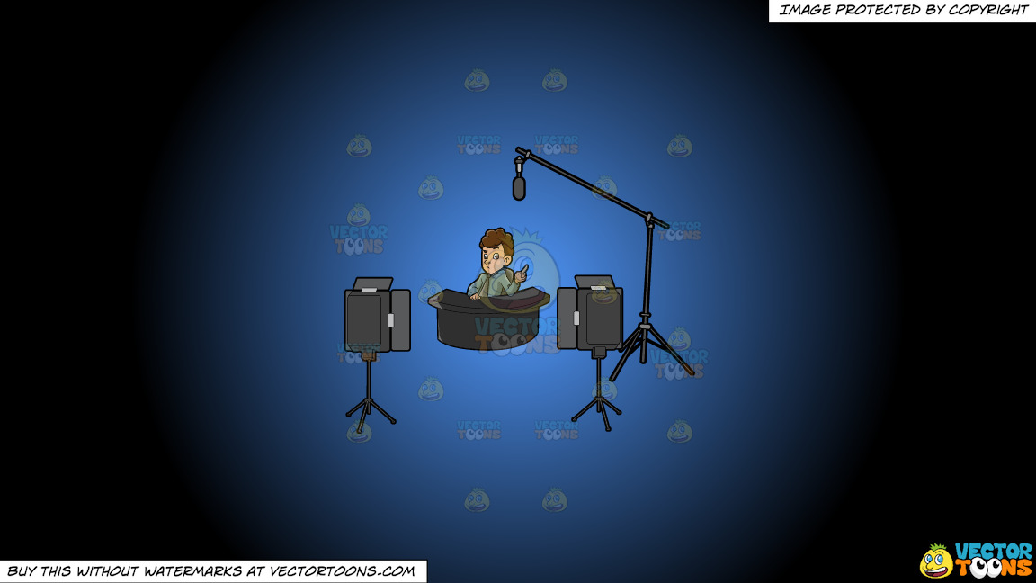A Male Commentator Filming An Episode Of His Show On A Blue And Black Gradient Background thumbnail